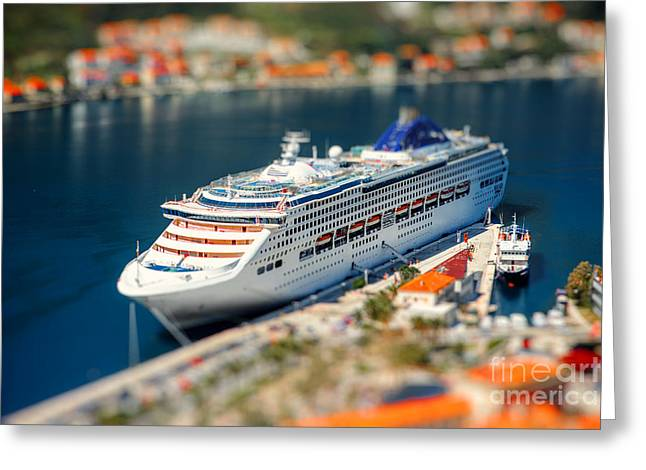 Cruise Liner In Kotor Bay Near The Old Greeting Card