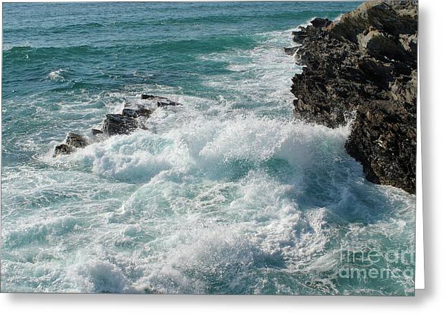 Crushing Waves In Porto Covo Greeting Card