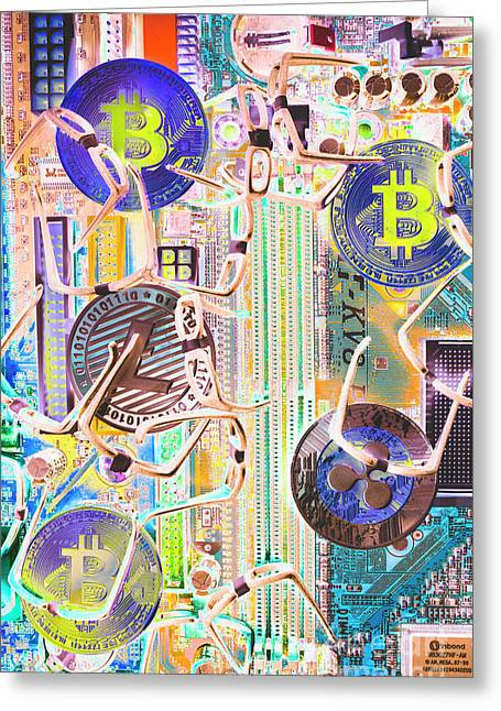 Cryptocurrency Circuitry Greeting Card