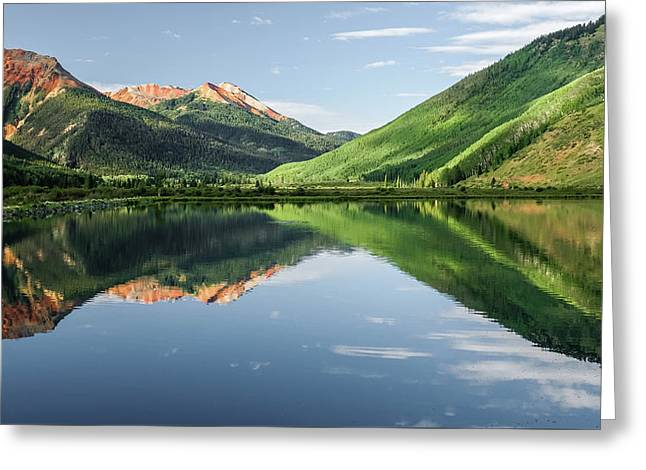 Greeting Card featuring the photograph Crystal Lake Red Mountain Reflection by Robert Bellomy