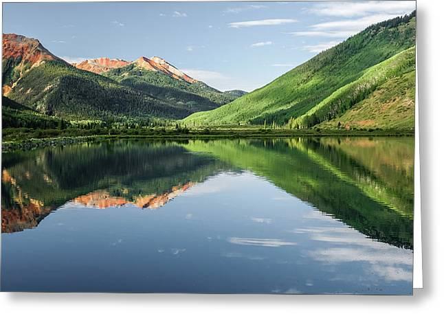 Crystal Lake Red Mountain Reflection Greeting Card