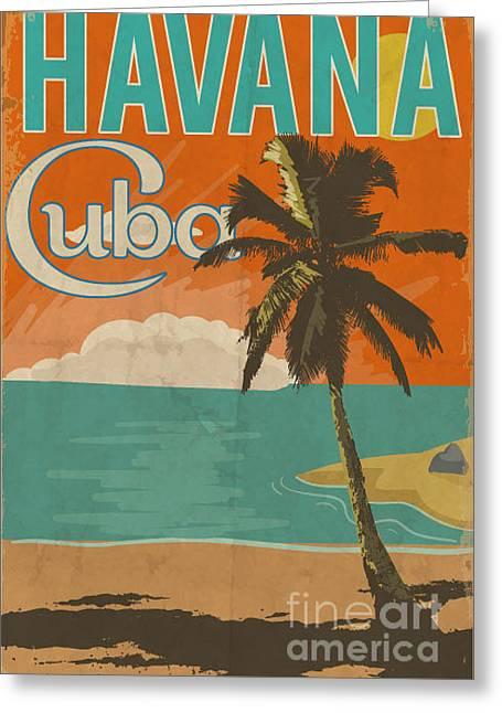 Cuba Havana Poster Illustration Greeting Card