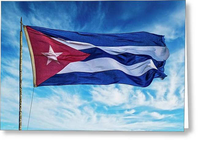 Cuba, Havana Vieja, Cuban Flag Waving Greeting Card