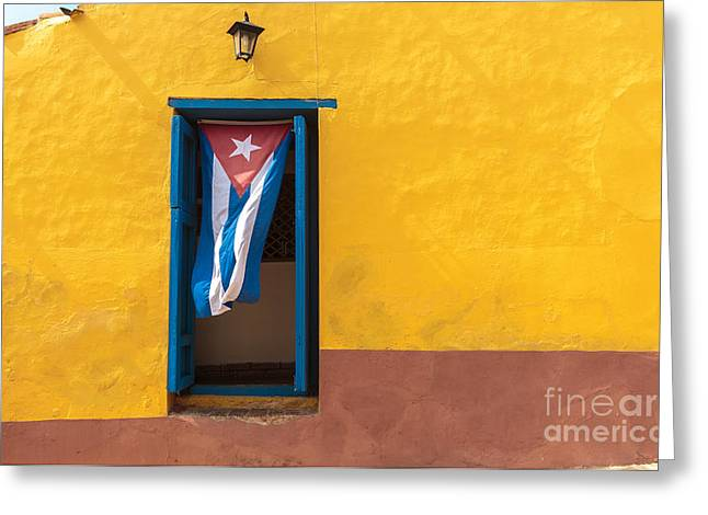 Cuban Flag Hanging On A Door In Greeting Card