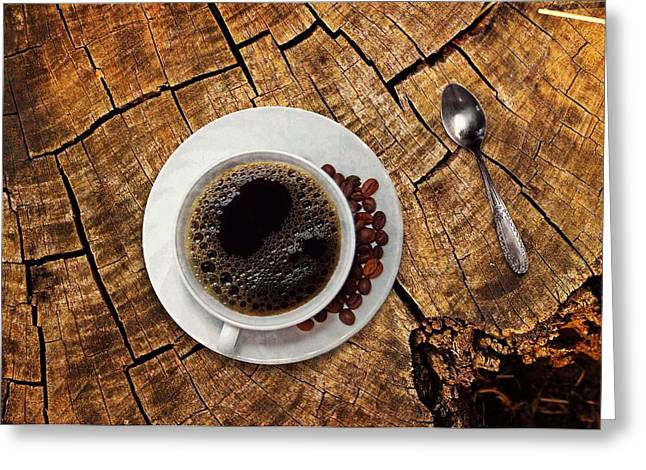 Cup Of Coffe On Wood Greeting Card