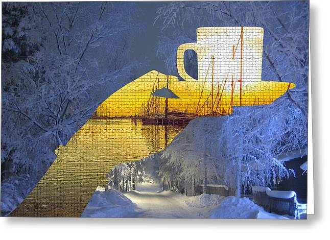 Cup Of Tea In The Winter Evening Greeting Card