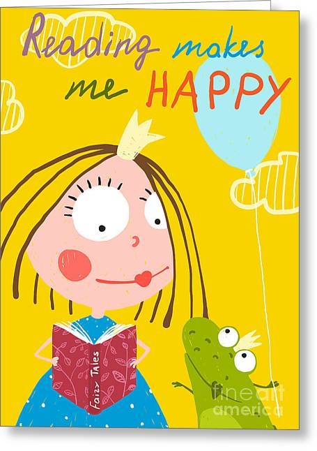 Curious Funny Little Girl Reading Fairy Greeting Card