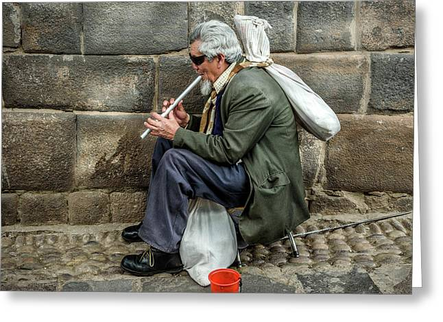 Greeting Card featuring the photograph Cusco Man by Jon Exley