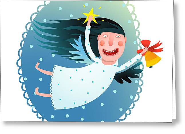 Cute Angel Girl Holding Star And Bell Greeting Card
