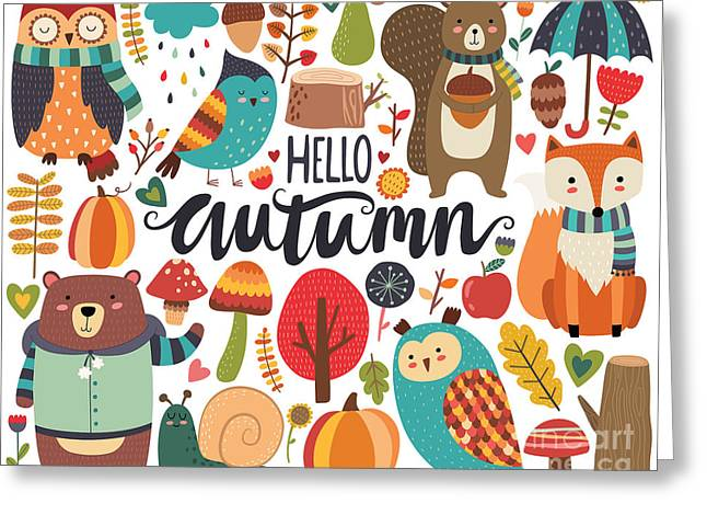 Cute Autumn Woodland Animals And Fall Greeting Card