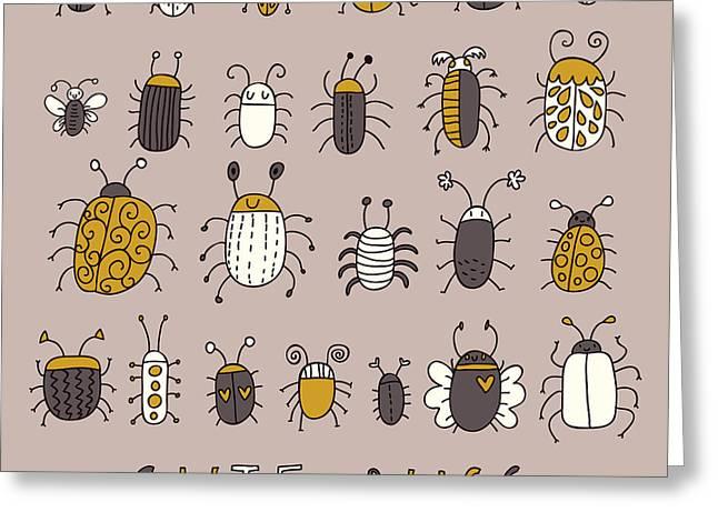Cute Bugs âVector Set In Retro Greeting Card