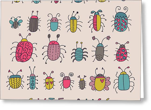 Cute Bugs. Cartoon Insects In Vector Set Greeting Card