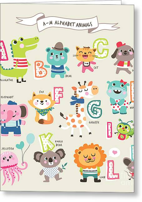 Cute Cartoon Animals Alphabet From A To Greeting Card