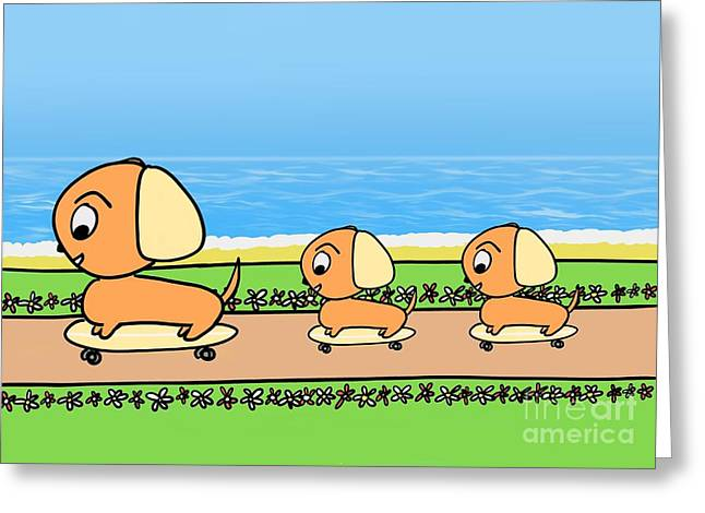 Cute Cartoon Dogs On Skateboards By The Beach Greeting Card