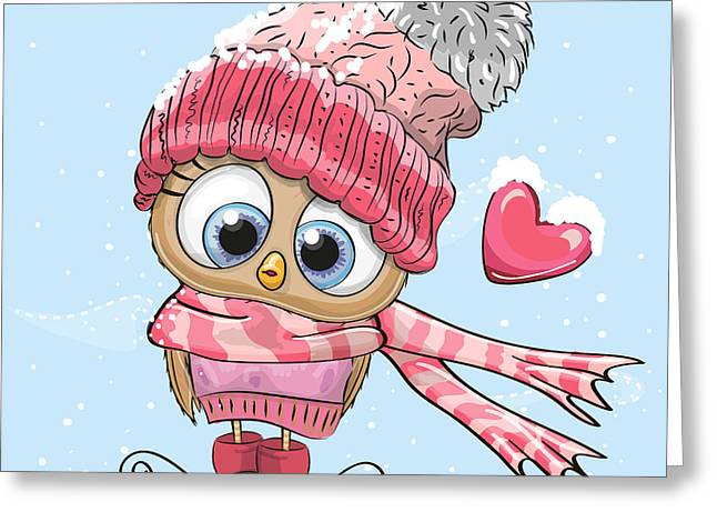 Cute Cartoon Owl In A Hat And Scarf Greeting Card