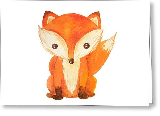 Cute Cartoon Watercolor Forest Animal Greeting Card by Zabrotskaya Larysa