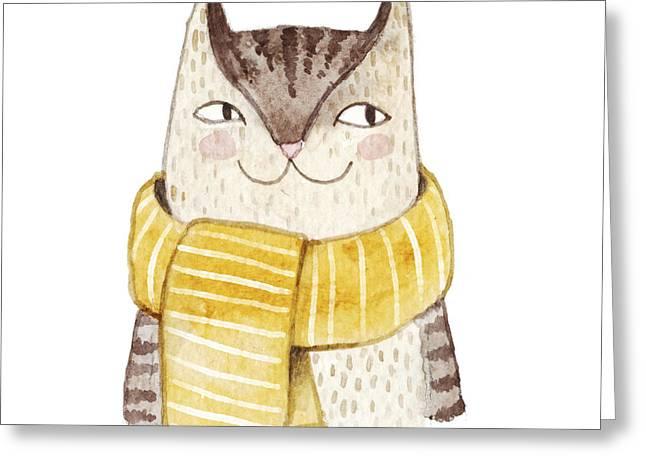 Cute Cat In Scarf . Watercolor Greeting Card
