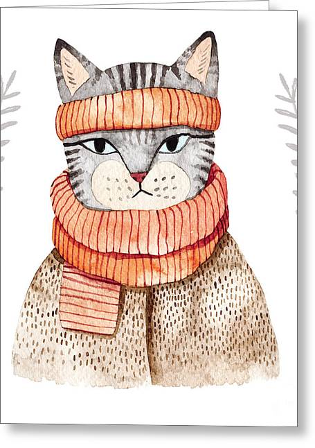 Cute Cat In Scarf .illustration With Greeting Card