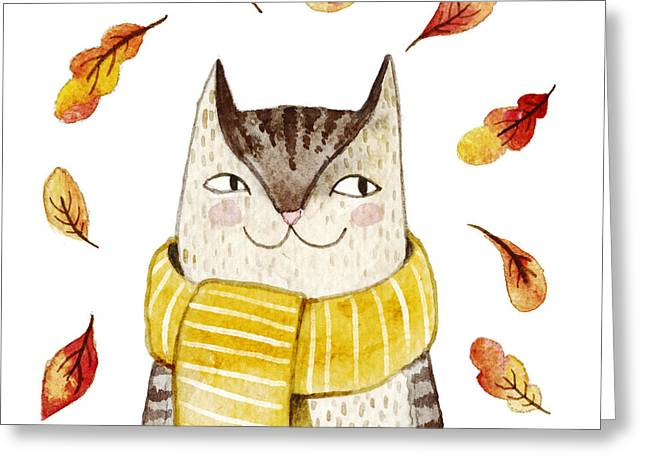 Cute Cat In Scarf With Autumn Leaves Greeting Card