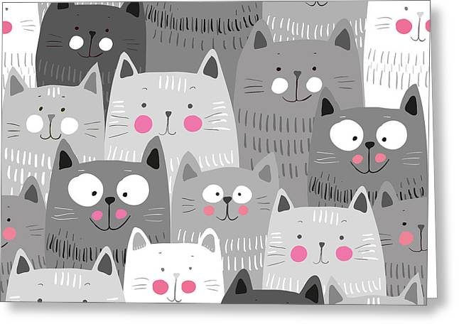 Cute Cats Colorful Seamless Pattern Greeting Card