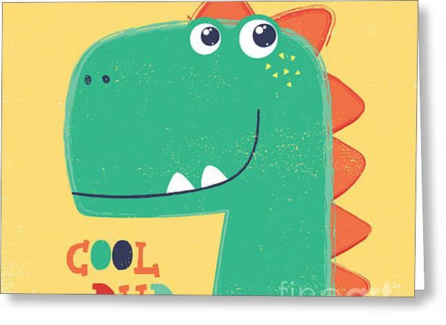Cute Dinosaur Head Drawing For Baby Greeting Card