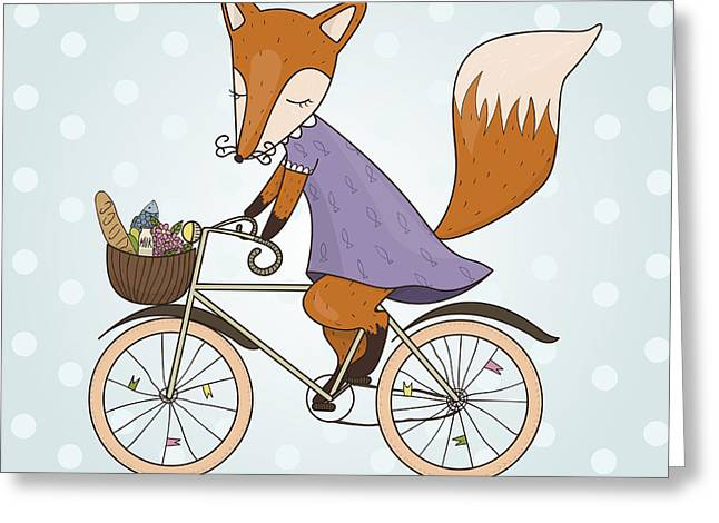 Cute Fox Riding On A Bicycle .bicycle Greeting Card by Maria Sem