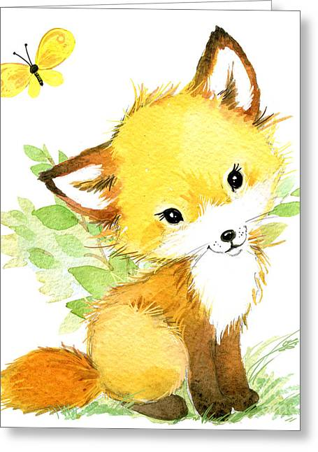 Cute Fox. Watercolor Forest Animal Greeting Card