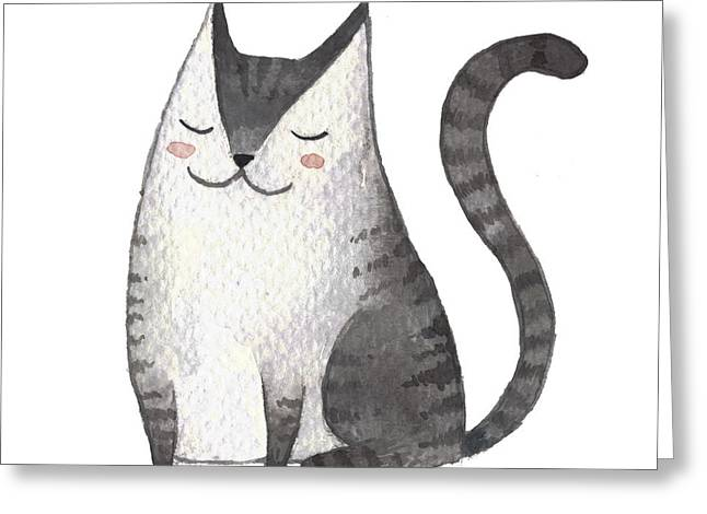 Cute Gray Cat. Watercolor Kids Greeting Card