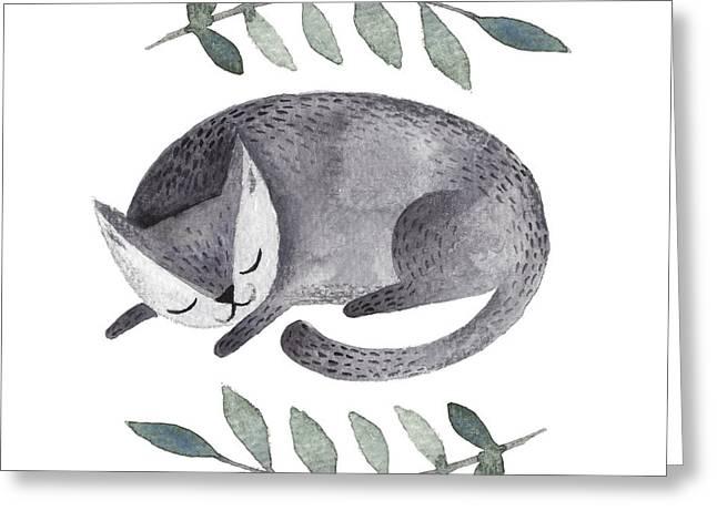Cute Gray Sleeping Cat. Watercolor Kids Greeting Card