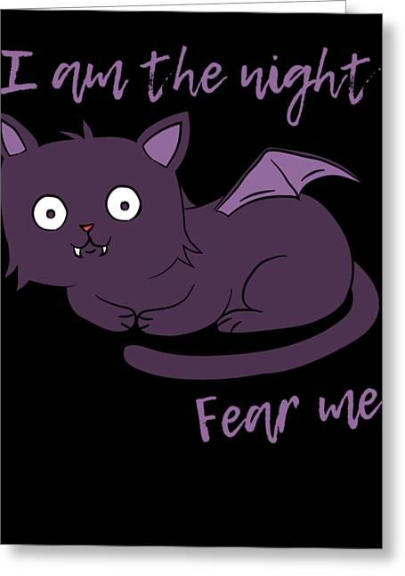 Cute Halloween Cat I Am The Night Fear Me Greeting Card