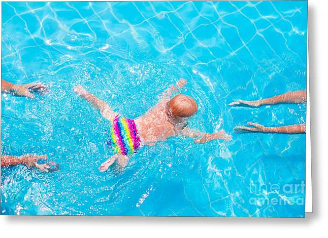 Cute Little Baby Swimming Underwater Greeting Card