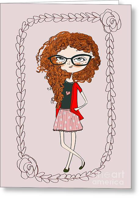 Cute Little Fashion Girl With Doodle Greeting Card
