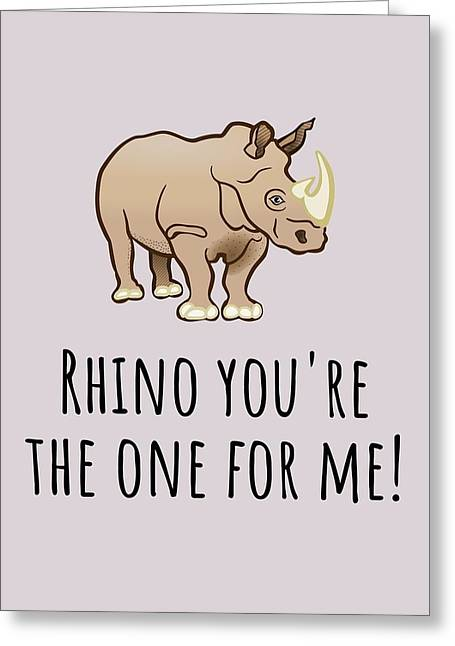 Cute Love Card - Valentine - Anniversary Card - Rhino You're The One For Me - Cute Animal Pun Greeting Card