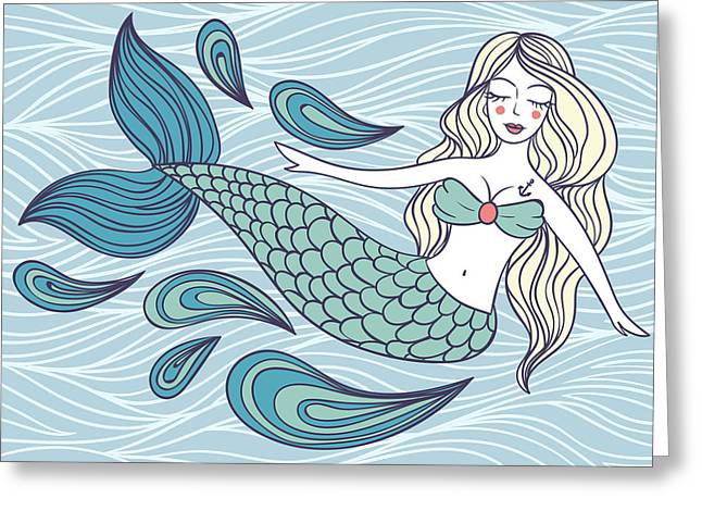 Cute Mystical Mermaid.deep Ocean.vector Greeting Card