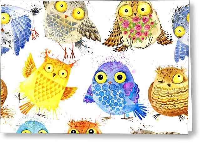 Cute Owl  Watercolor Seamless Pattern Greeting Card