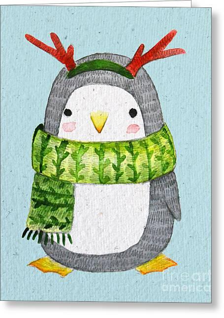 Cute Penguin In Scarf. Watercolor Greeting Card