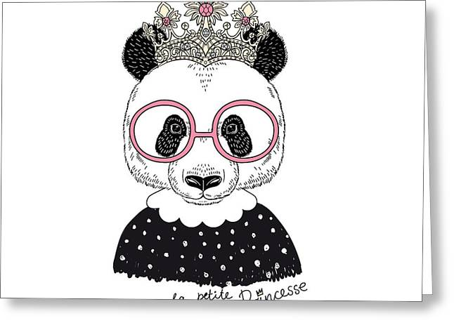 Cute Portrait Of Panda Princess, Hand Greeting Card by Olga angelloz