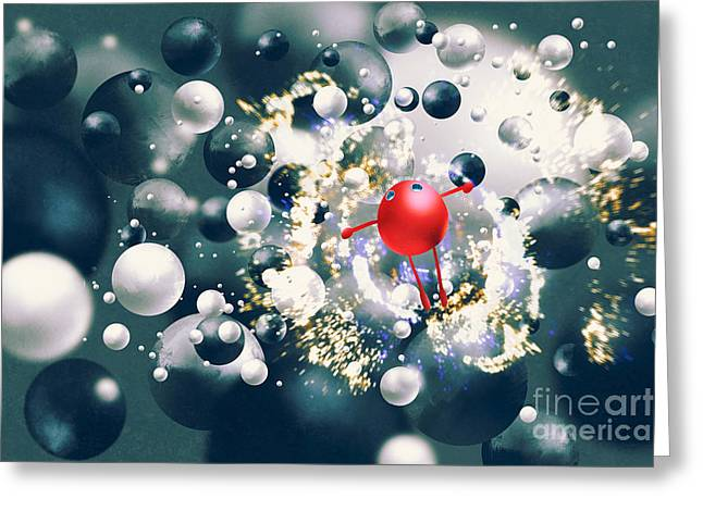Cute Red Ball Raising Arms Amongst Greeting Card