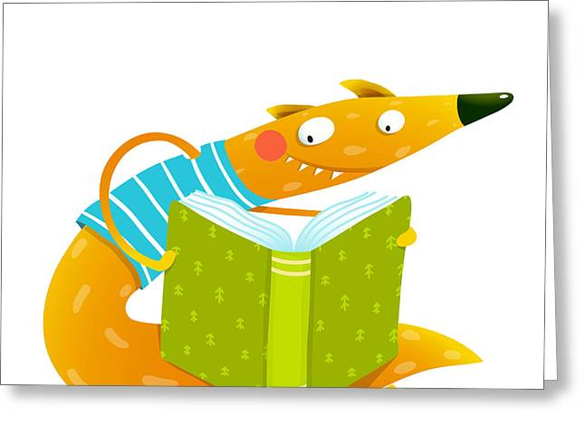 Cute Red Fox Sitting And Reading Book Greeting Card