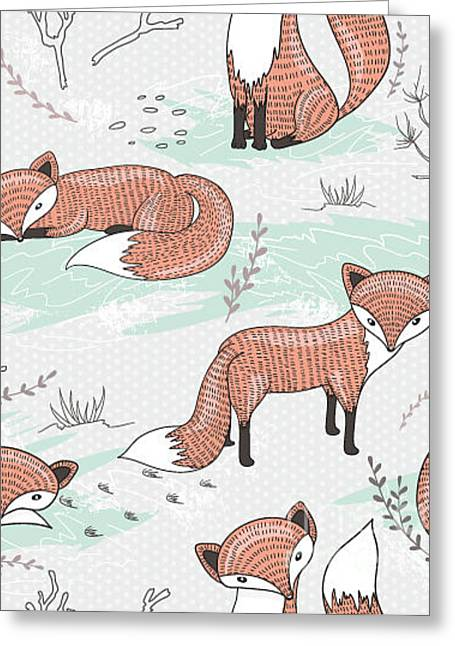 Cute Seamless Pattern With Little Foxes Greeting Card