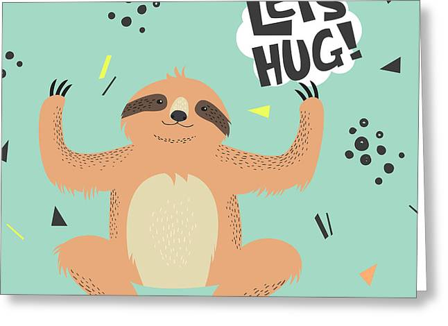 Cute  Sloth Vector Illustration. Lets Greeting Card