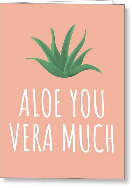 Cute Succulent Card - Valentine Card - Aloe You Vera Much - Succulent Love Card - Aloe Vera Lover Greeting Card