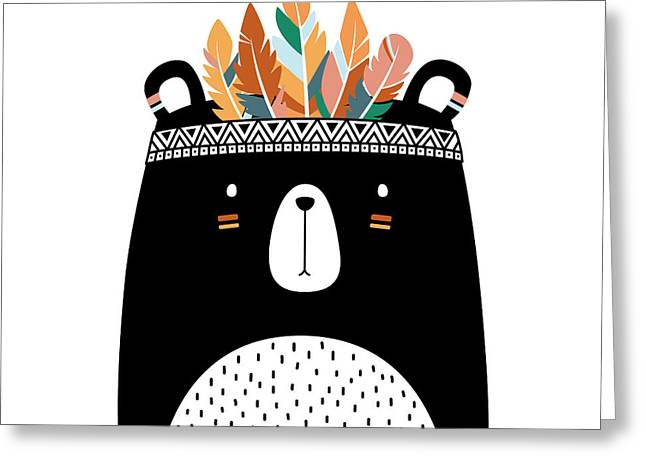 Cute Tribal Bear - Boho Chic Ethnic Nursery Art Poster Print Greeting Card