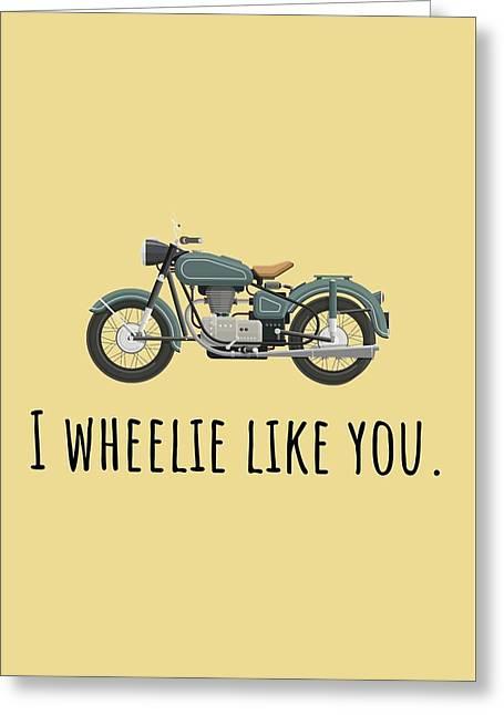 Cute Valentine Card - Motorcycle Love Card - I Wheelie Like You - Vintage Motorcycle Greeting Card