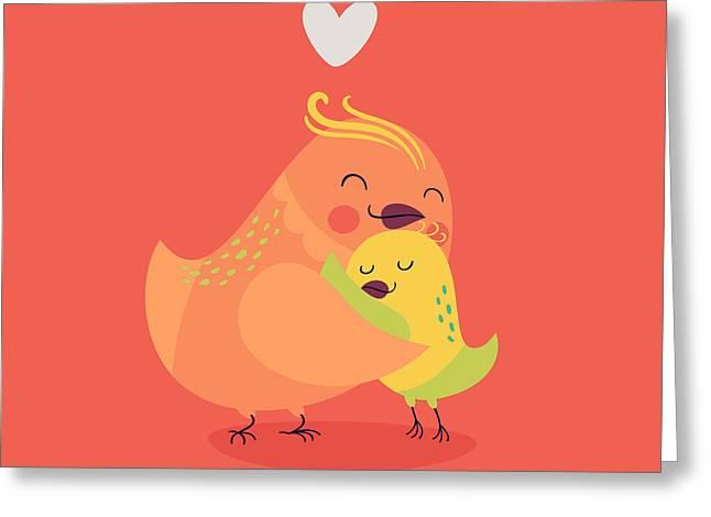 Cute Vector Cartoon Decorative Birds Greeting Card by Mascha Tace