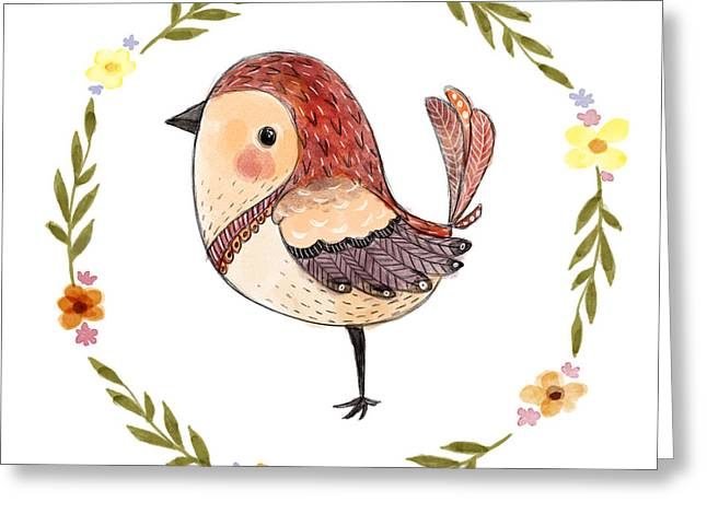Cute Watercolor Bird With Floral Greeting Card