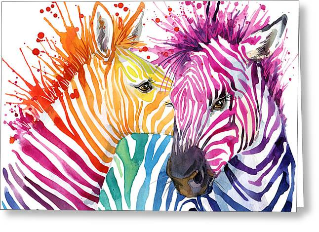 Cute Zebra. Watercolor Illustration Greeting Card by Faenkova Elena