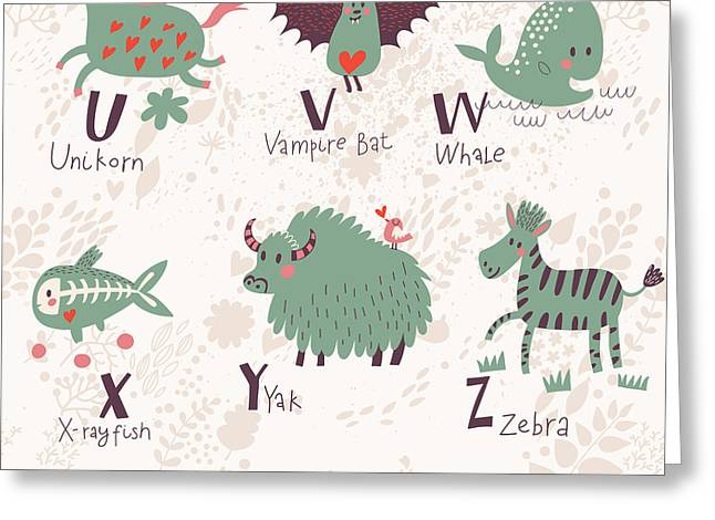 Cute Zoo Alphabet In Vector. U, V, W Greeting Card by Smilewithjul