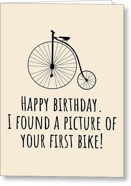 Cyclist Birthday Card - Funny Bicycle Birthday Card - Cycling Greeting Card - Your First Bike Greeting Card