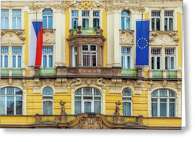 Czech Facade Greeting Card by Andrew Soundarajan